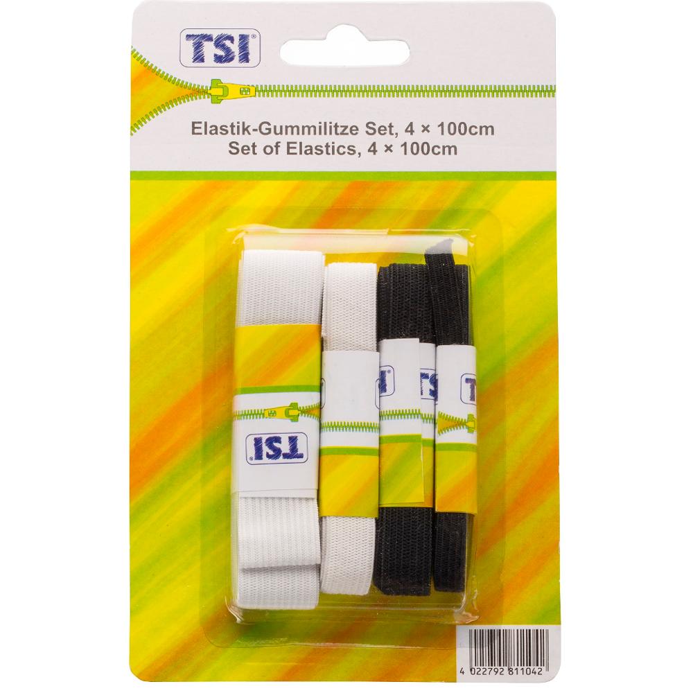 TSI | 4er Set Gummilitzen mit 8 bis 12mm Breite je 1 Meter