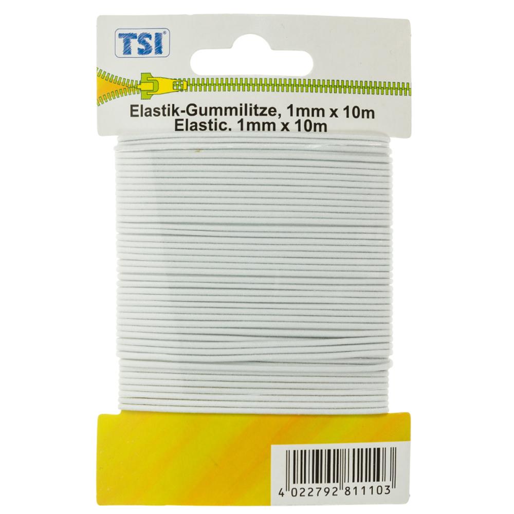 TSI | Elastic-Gummilitze rund mit 1mm dicke und 10m Länge in Weiß
