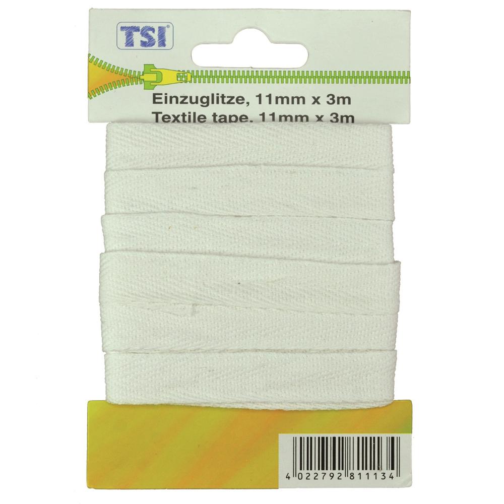 TSI   3m Wäscheband mit 11mm Breite in Weiß