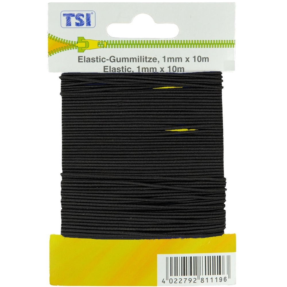 TSI   Elastic-Gummilitze rund mit 1mm dicke und 10m Länge in Schwarz