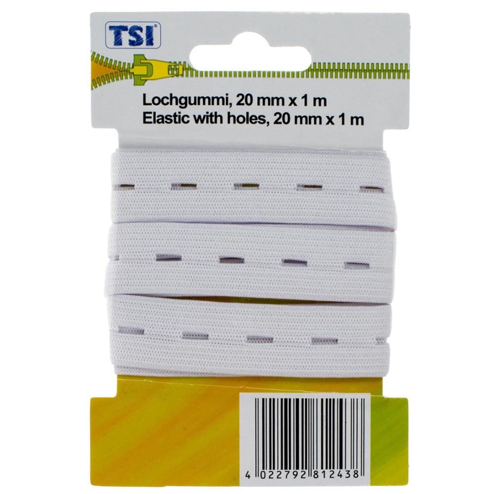 TSI   1m Lochgummiband mit 20mm Breite in Weiß