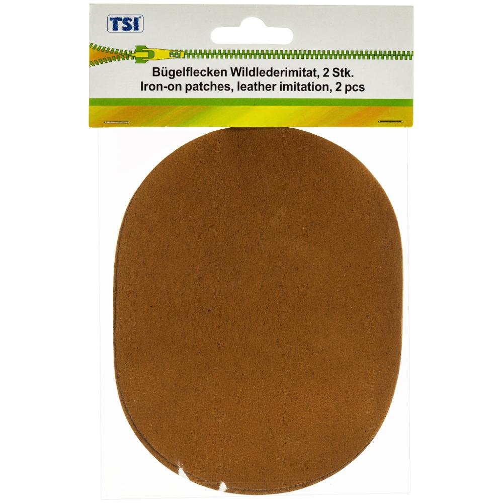 TSI | 2 Bügelflicken 10x13 cm aus Wildlederimitat in Braun