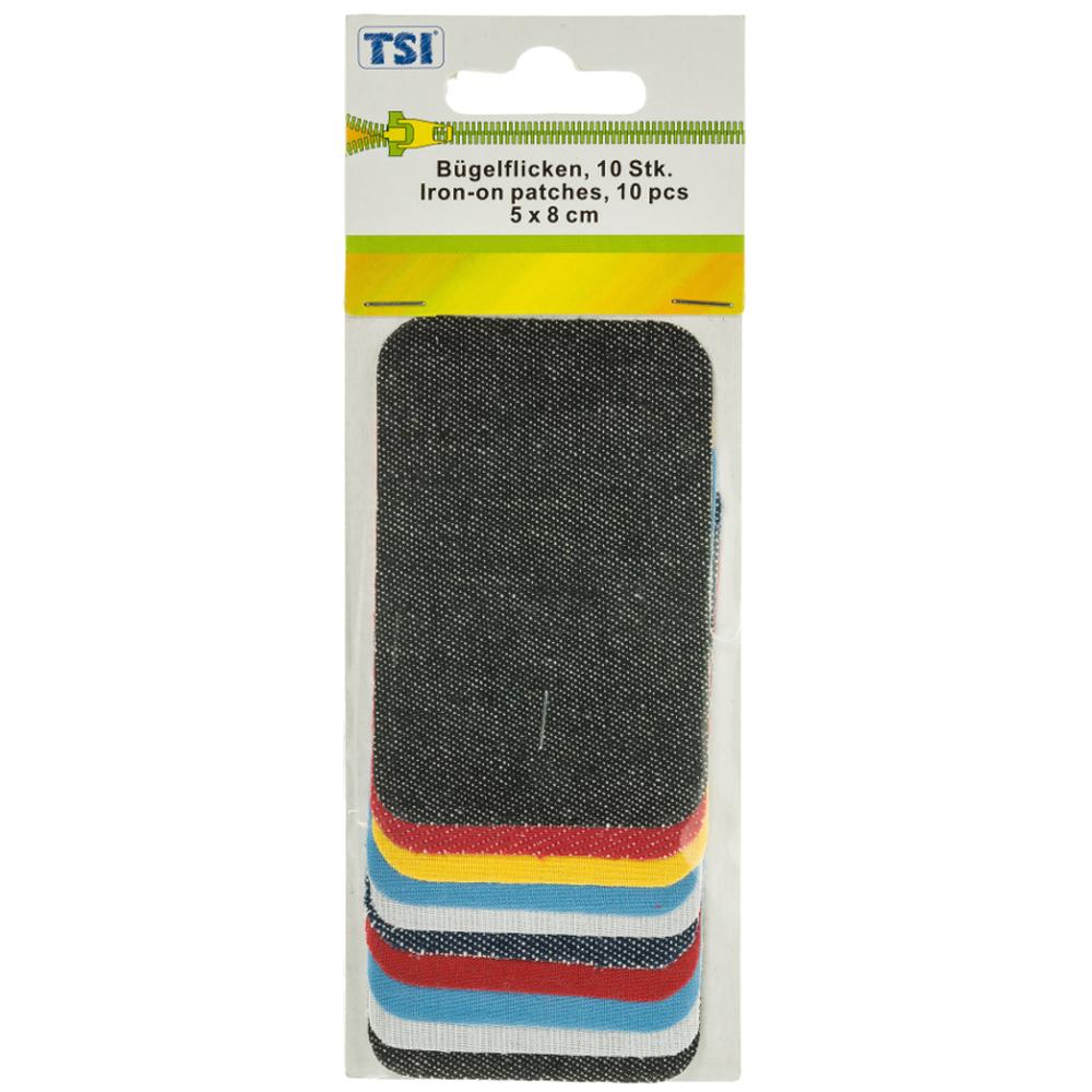 TSI | 10 Bügelflicken 5 x 8 cm asu 100% Baumwolle im Farbmix