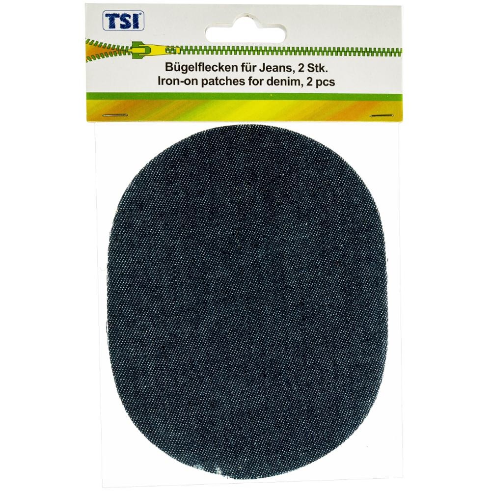 TSI | 2 Jeans Bügelflicken in ovaler Form aus 100% Baumwolle Dunkelblau