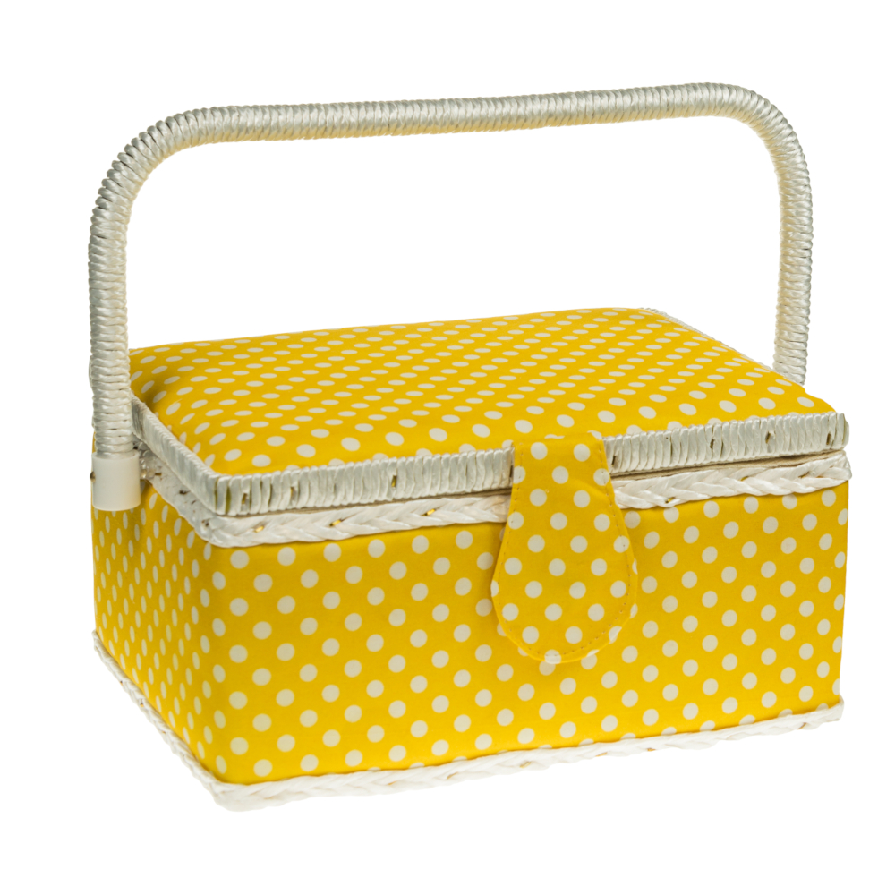 Nähutensilienbox 24 x 17,5 x 15 cm in Gelb mit weißen Punkten