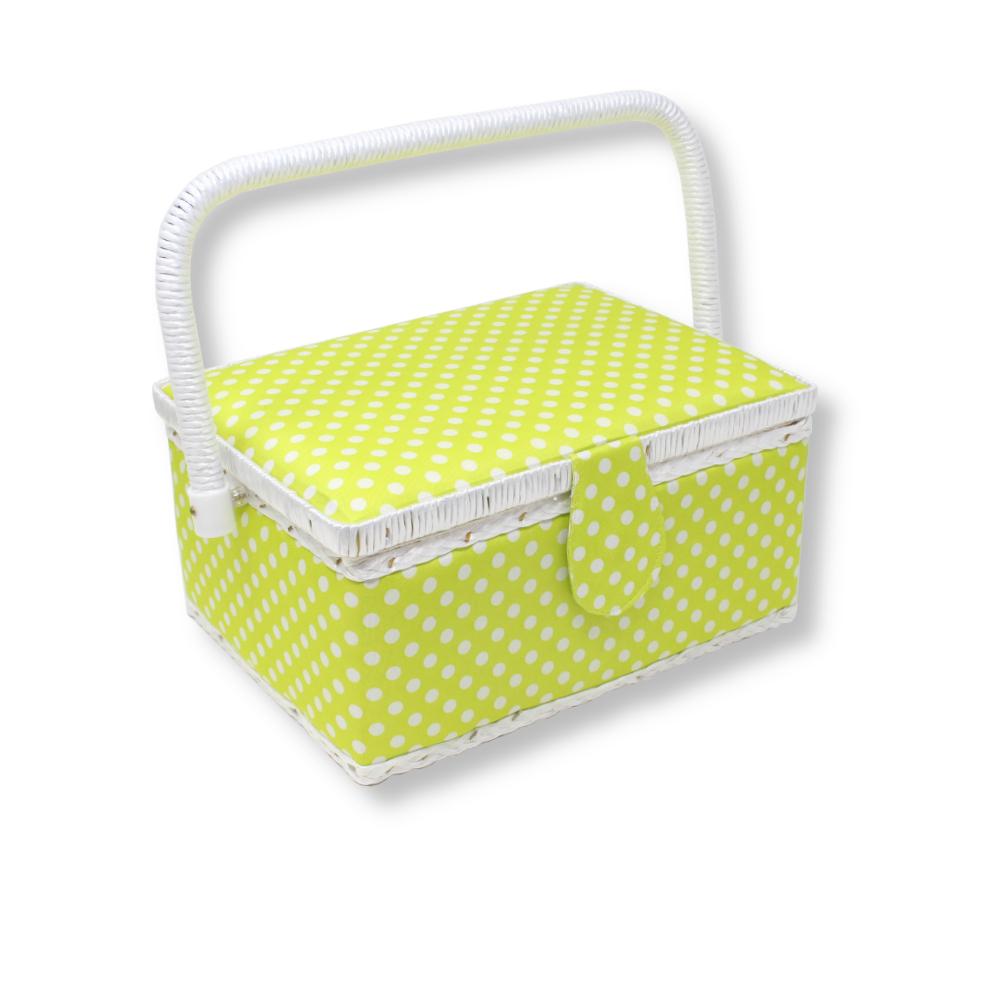 Nähutensilienbox 24 x 17,5 x 15 cm in Grün mit weißen Punkten