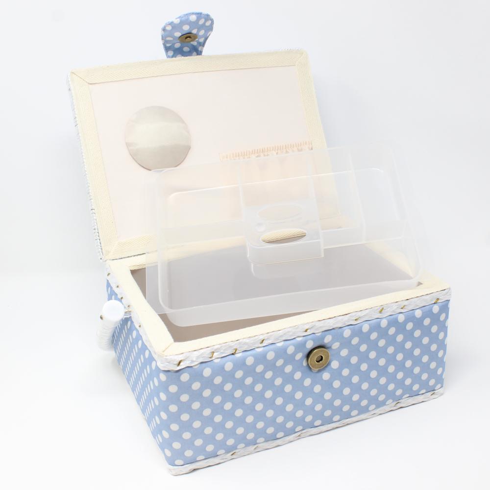 Nähutensilienbox 24 x 17,5 x 15 cm in Hellblau mit weißen Punkten