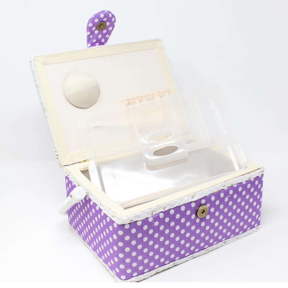 Nähutensilienbox 24 x 17,5 x 15 cm in Lila mit weißen Punkten