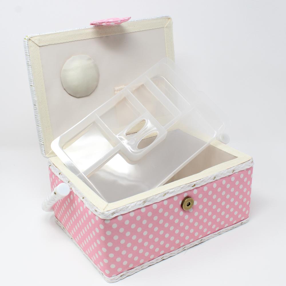 Nähutensilienbox 24 x 17,5 x 15 cm in Rosa mit weißen Punkten